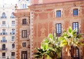 Barcelona city buildings facade in Sant Pere mes Alt street
