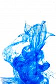 Abstract Dynamic Spot Of Blue Ink, Paints In Water On An Isolated Background. A Colored Spot Is Like poster