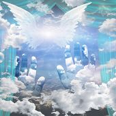 Angel Wings and Hands Reach Up Toward Heaven. 3D rendering poster