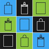 Set Line Paper Shopping Bag, Paper Shopping Bag And Paper Shopping Bag Icon. Vector poster