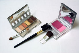 stock photo of cosmetic products  - cosmetic blushes - JPG