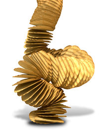 stock photo of potato chips  - A crumbling stack of wavy cut traditional potato chips on a white background - JPG