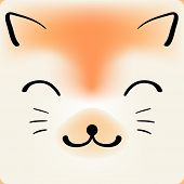 Cute cartoon cat face, vector background for a card