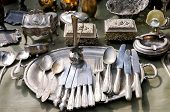 stock photo of ladle  - Antique things mostly made of silver and copper - JPG