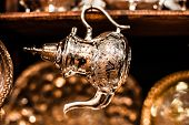 picture of nana  - Set of arabic nana mint tea with metal tea pot and glasses - JPG