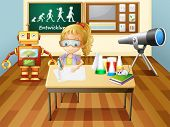 Illustration of a girl writing inside a science laboratory room