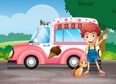 stock photo of ice-cream truck  - Illustration of a boy and his cat near a pink bus - JPG