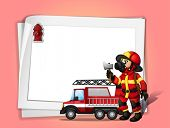 Illustration of a fireman holding an ax beside his fire truck with a white blank paper