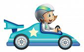stock photo of karts  - Illustration of a girl in a car racing competition on a white background - JPG