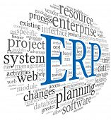 Enterprise Resource Planning sistema ERP en la nube de etiquetas de palabra