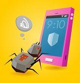 Amenaza de virus en el smartphone. Ilustración de Vector