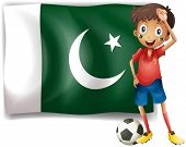 Illustration of the Pakistan flag and the football player on a white background