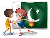 Illustration of the flag of Pakistan and the basketball players on a white background