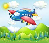 Ilustração de um avião colorido acima dos montes