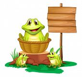 Illustration of a frog inside a basket near the empty signboard on a white background