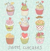 Sweet cupcakes. Colorful tasty vector set. 9 delicious cakes for modern yummy romantic designs or we