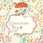 Cartoon vector background. Cute wallpaper with funny white rabbits, mushrooms and flowers. Romantic