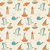 Marine seamless pattern with seagull, boat, whale and lighthouse. Warm colored romantic background.