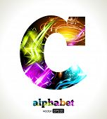 Vector Customizable Light Effect Alphabet. Design Abstract Letter C.