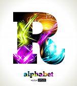 Vector Customizable Light Effect Alphabet. Design Abstract Letter R.