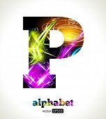 Vector Customizable Light Effect Alphabet. Design Abstract Letter P.