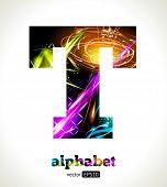 Vector Customizable Light Effect Alphabet. Design Abstract Letter T.