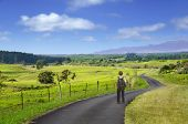 stock photo of long winding road  - A boy standing on a long and winding country road - JPG