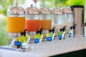 pic of banquette  - Row of fresh juice at buffet restaurant - JPG