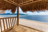 Seaview from bamboo hut on beach on Gili Air island, off Bali in Indonesia