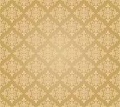 Seamless golden floral wallpaper diamond pattern