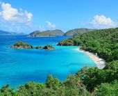 Bay panorama with blue sea, beach and mountain in St John, Virgin Islands.