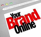 The words Your Brand Online on a website screen to represent a company or business marketing its pro