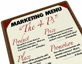 The Marketing 4 Ps -- Product, Price, Place and Promotion -- which are essential for the success of