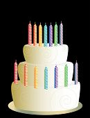 White Three Layer Birthday Cake