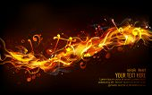 illustration of musical notes coming out of fire flame