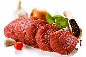 foto of veal meat  - Raw beef on white background - JPG