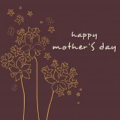 Floral decorated banner, flyer or background for Happy Mothers Day celebration.