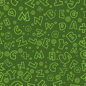 Colorful seamless pattern with English letters, alphabets.