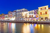 Agios Nikolaos city at night on Crete, Greece