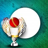 Sports background with shiny cricket ball, trophy with wings and blank space on grungy green backgro
