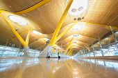 MADRID - MARCH 7: Light hall in Madrid Barajas Airport, March 7, 2012 in Madrid, Spain. Barajas - ai