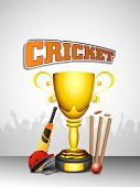 Sports concept with winning trophy and cricket bats, ball and wicket stumps.