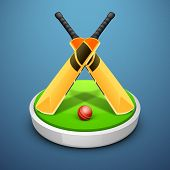 stock photo of cricket bat  - Cricket bats and ball on field stage - JPG
