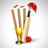 image of cricket ball  - Cricket sports concept with wicket stumps - JPG