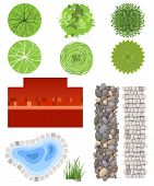 Highly detailed landscape design elements - easy to make your own plan! EPS 10