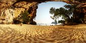 Panorama of a sandy beach among limestone mountains. Phra Nang beach. Krabi, Thailand