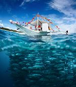 Collage with fishing boat on a surface and huge school of fish underwater. Philippines