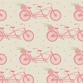 vintage seamless pattern with pink bicycles