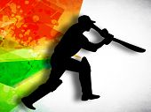 stock photo of cricket shots  - Silhouette of cricket batsman in playing action on colorful grungy background - JPG