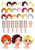 Fashion female avatars. 18 hairstyles, 18 eyes, 18 mouths, 1 head, for multiple combinations. In thi